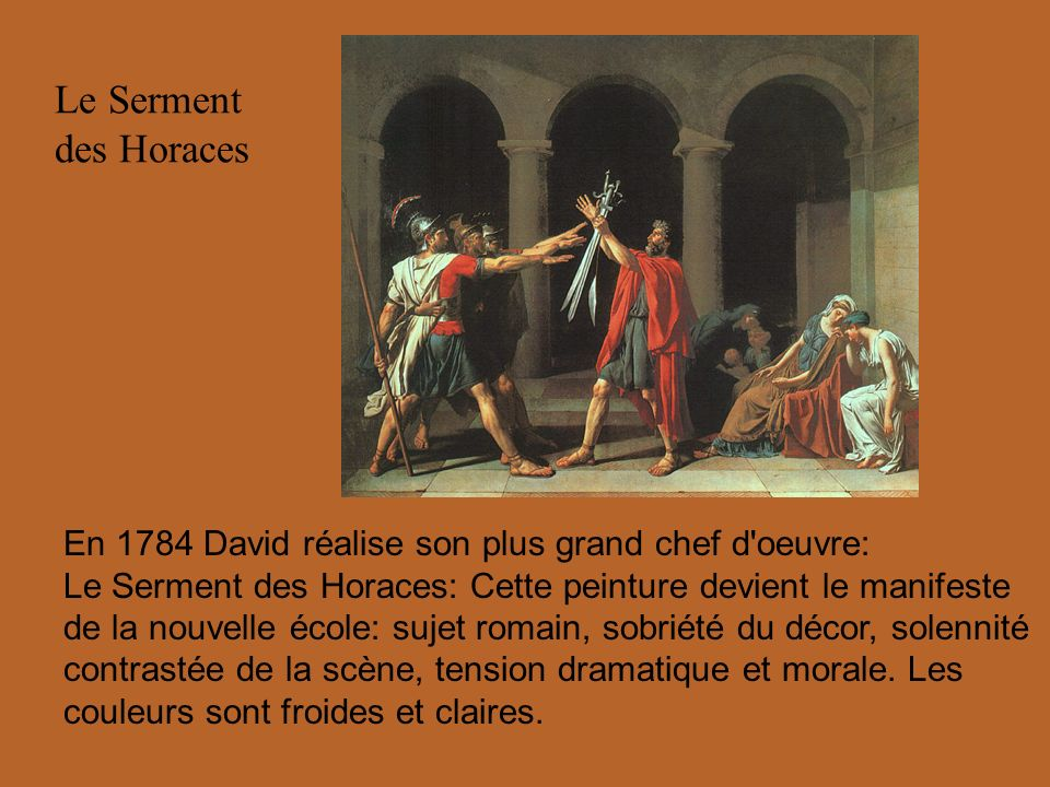 Le Serment des Horaces En 1784 David réalise son plus grand chef d oeuvre: