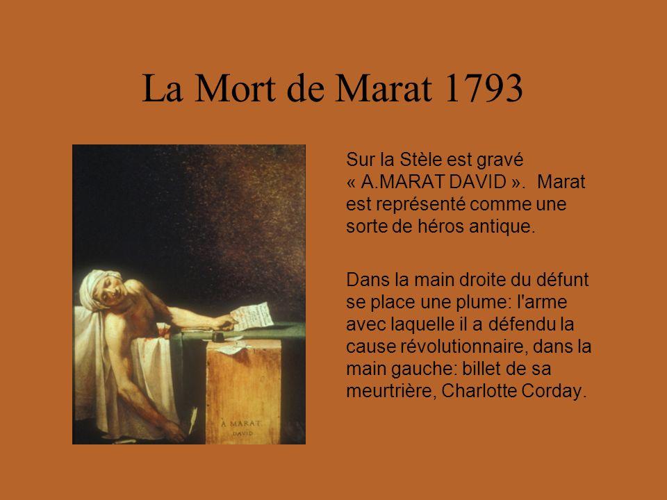 La Mort de Marat 1793 Sur la Stèle est gravé « A.MARAT DAVID ». Marat est représenté comme une sorte de héros antique.