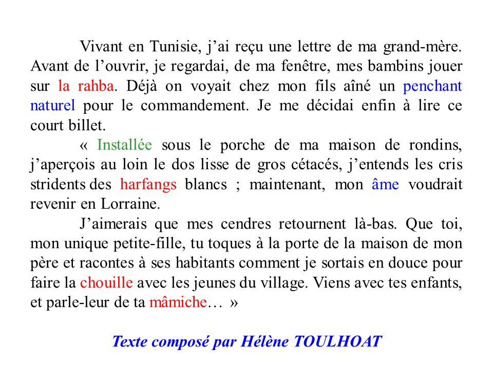 Texte composé par Hélène TOULHOAT