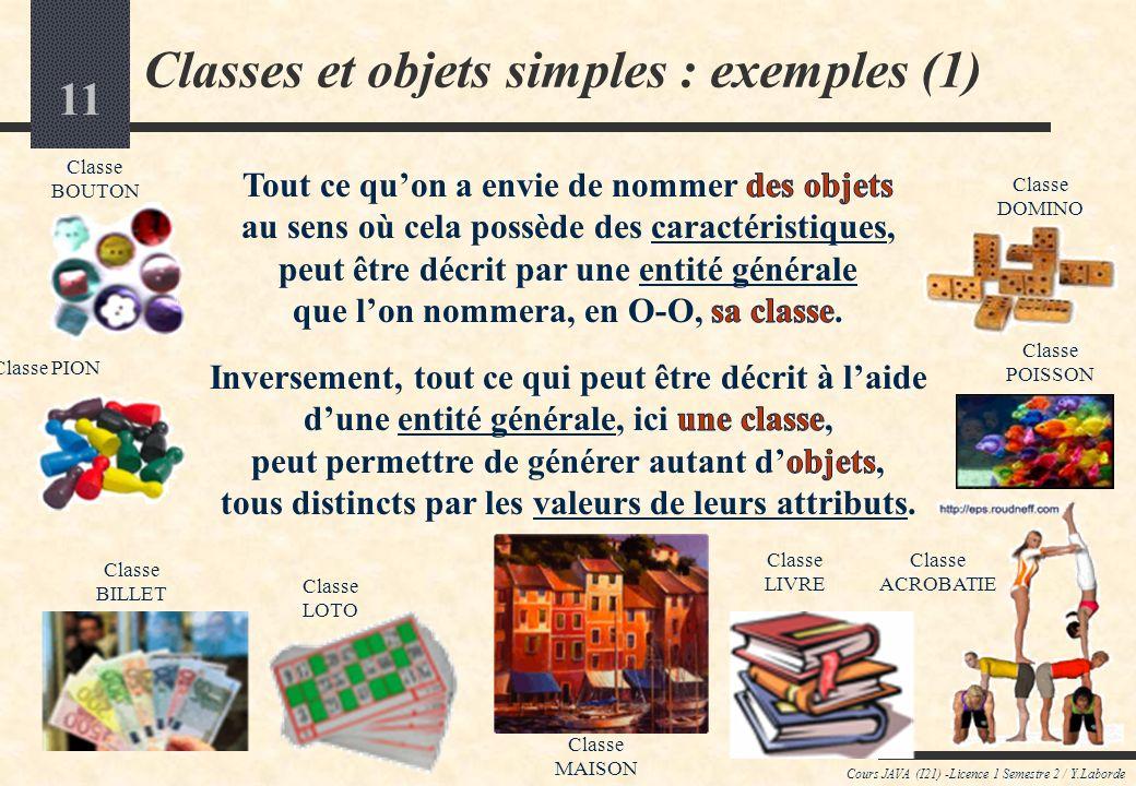 Classes et objets simples : exemples (1)