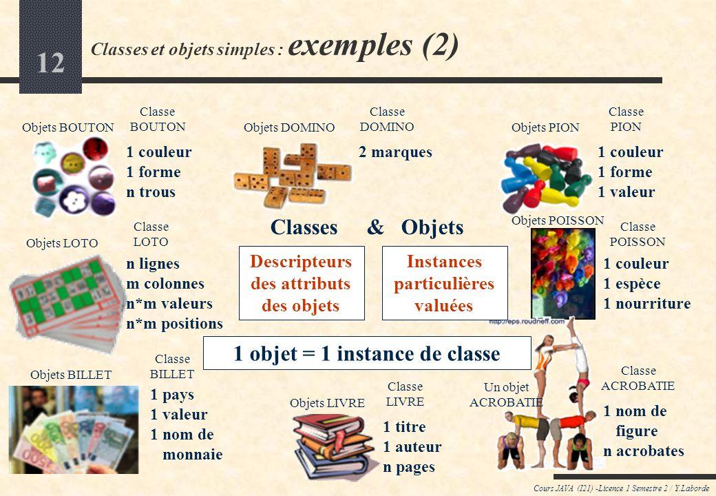 Classes et objets simples : exemples (2)