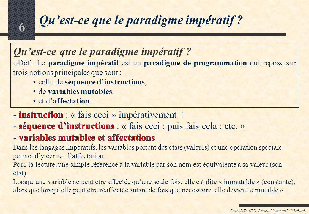 Qu'est-ce que le paradigme impératif