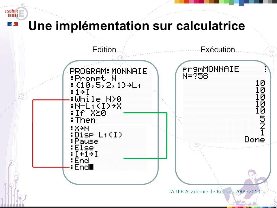 Une implémentation sur calculatrice