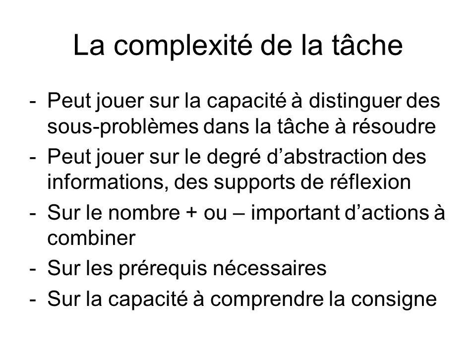 La complexité de la tâche