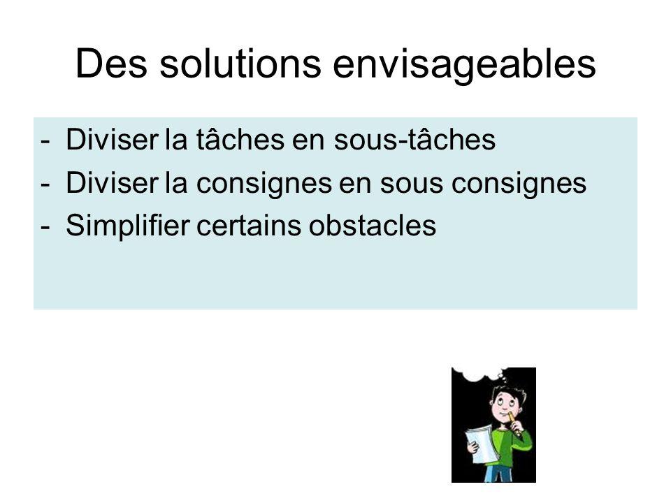 Des solutions envisageables