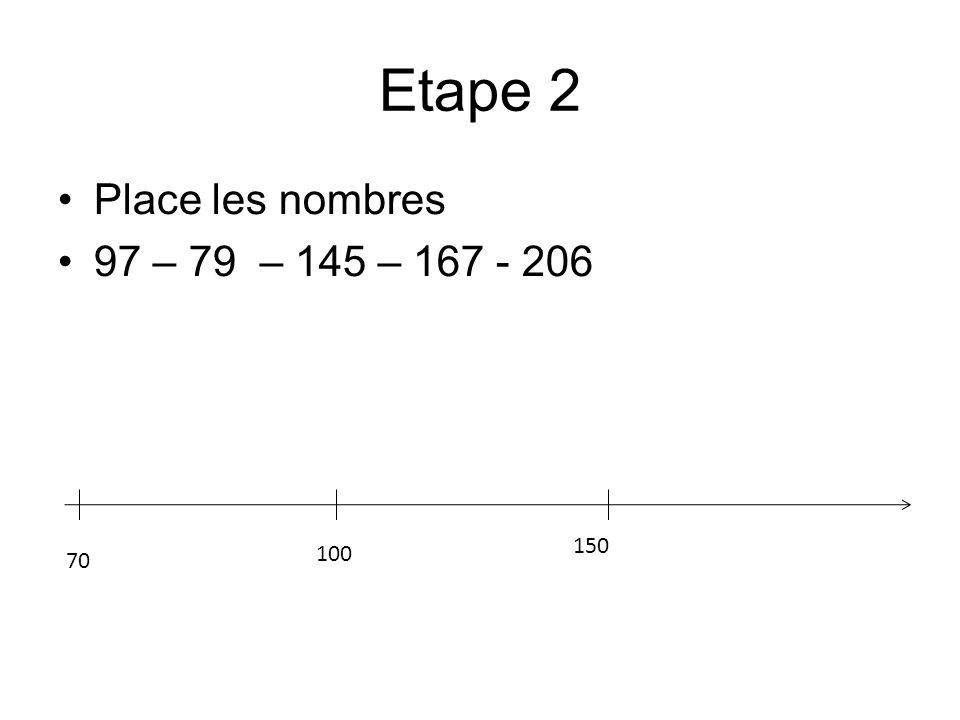 Etape 2 Place les nombres 97 – 79 – 145 – 167 - 206 150 100 70