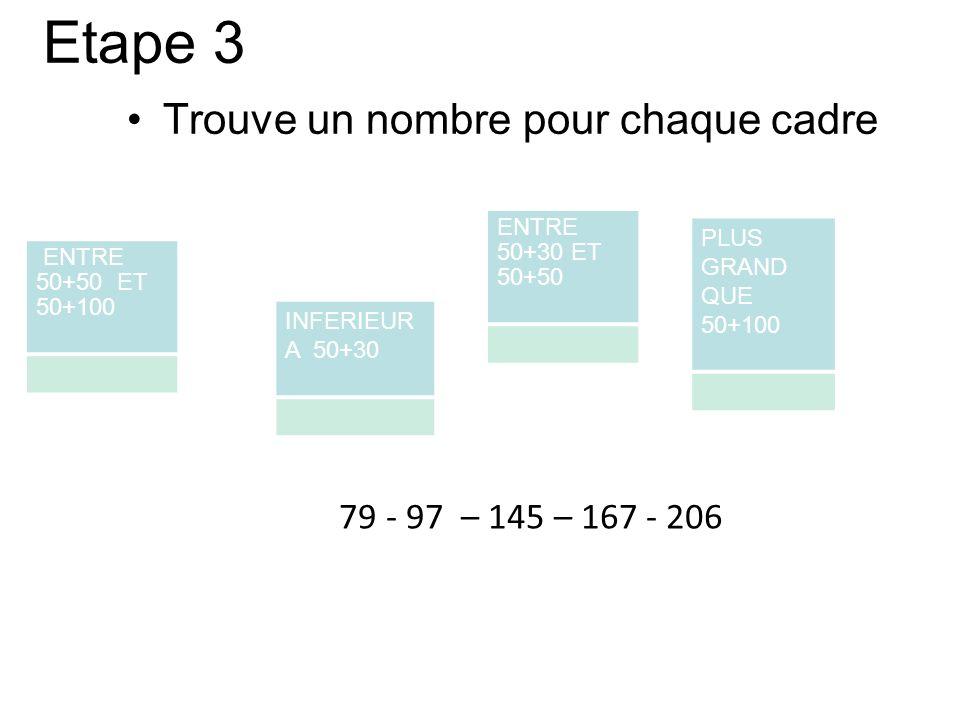 Etape 3 Trouve un nombre pour chaque cadre 79 - 97 – 145 – 167 - 206