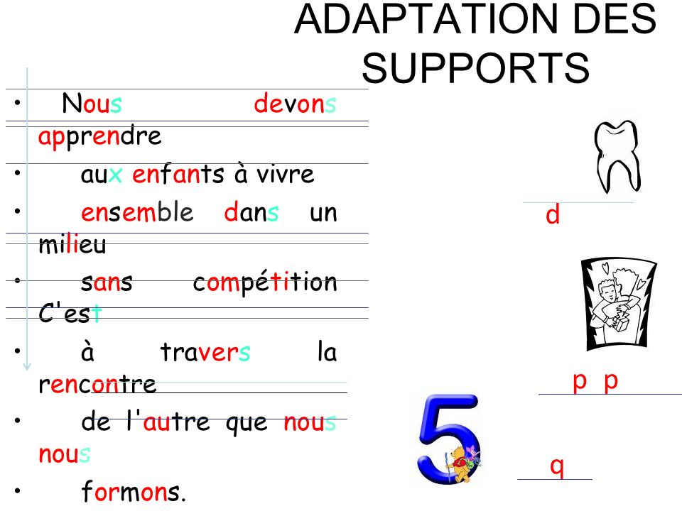 ADAPTATION DES SUPPORTS