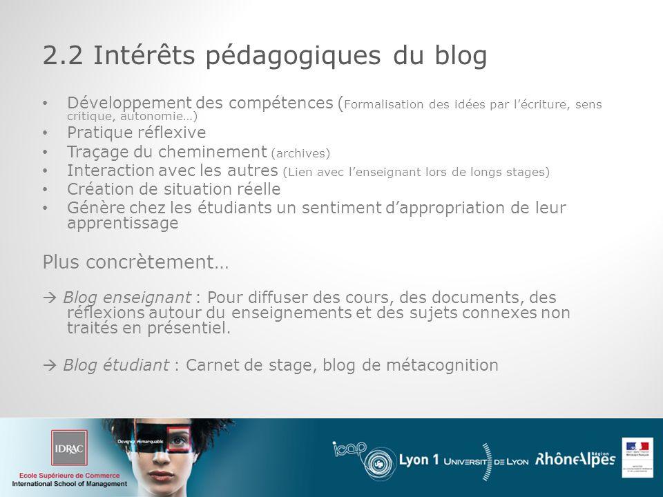 2.2 Intérêts pédagogiques du blog
