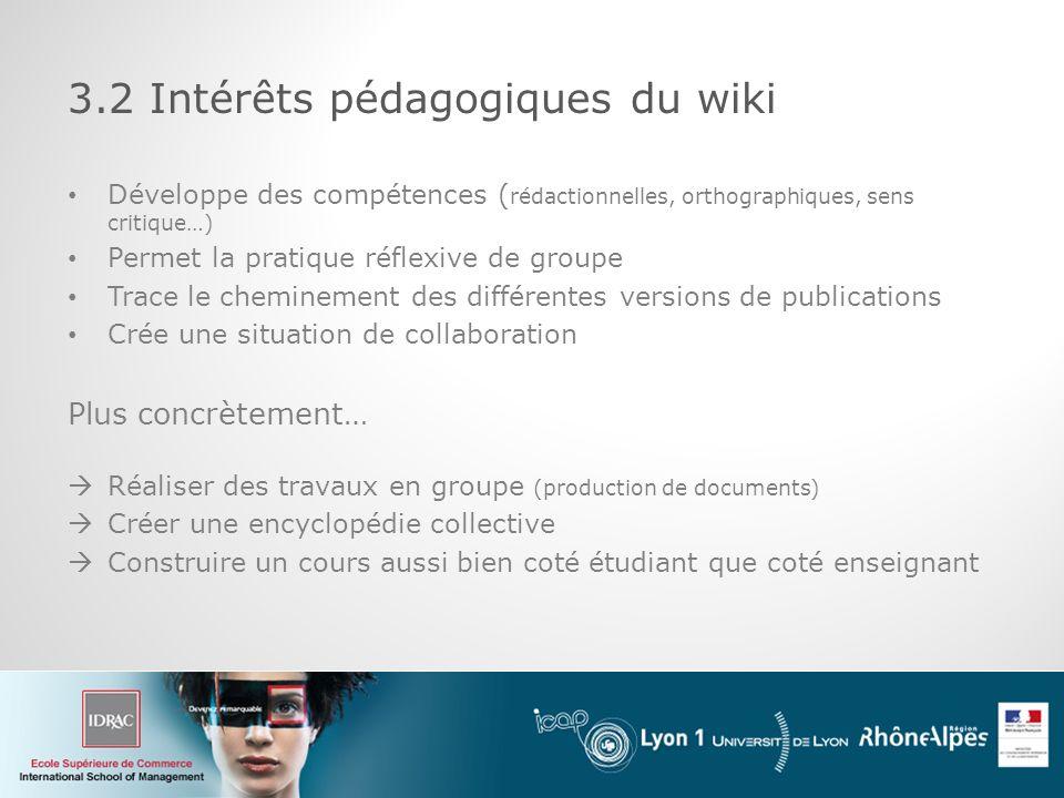 3.2 Intérêts pédagogiques du wiki