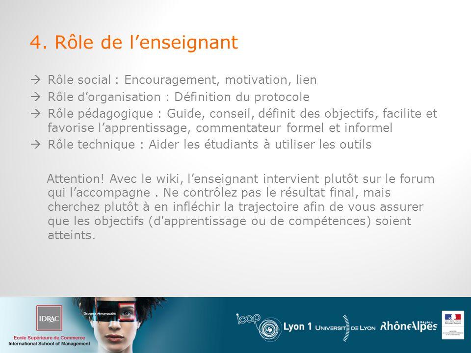 4. Rôle de l'enseignant Rôle social : Encouragement, motivation, lien