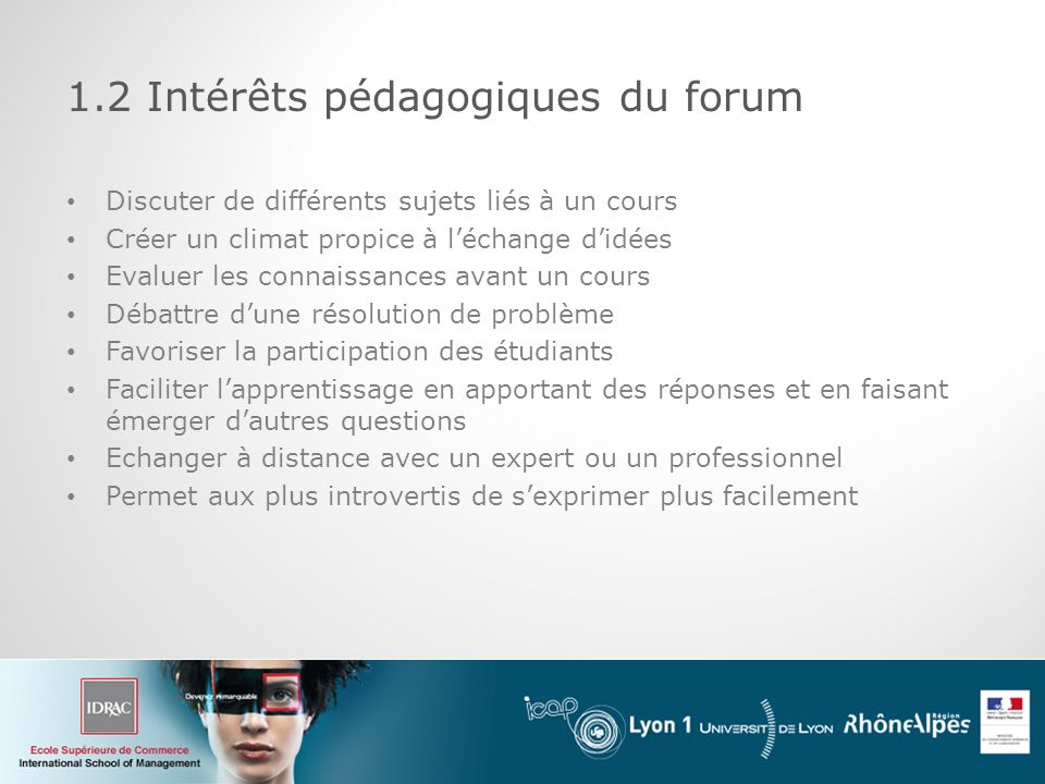 1.2 Intérêts pédagogiques du forum