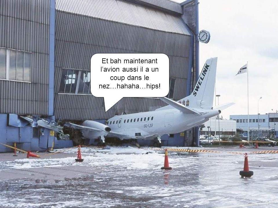 Et bah maintenant l'avion aussi il a un coup dans le nez…hahaha…hips!