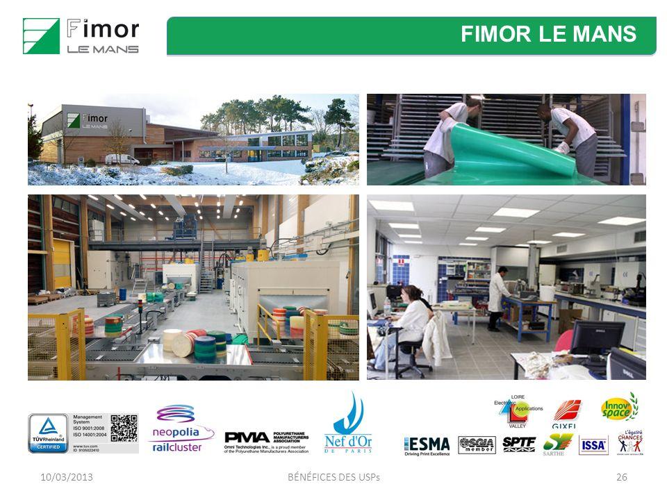 FIMOR LE MANS 10/03/2013 BÉNÉFICES DES USPs