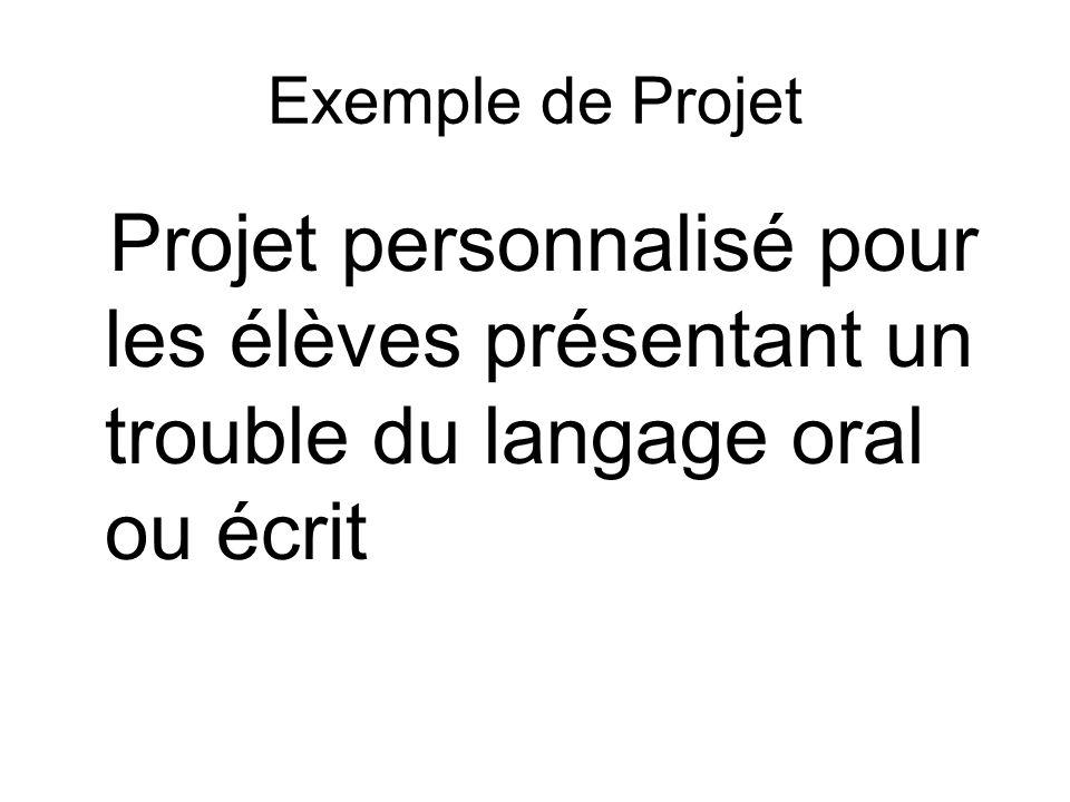 Exemple de Projet Projet personnalisé pour les élèves présentant un trouble du langage oral ou écrit.