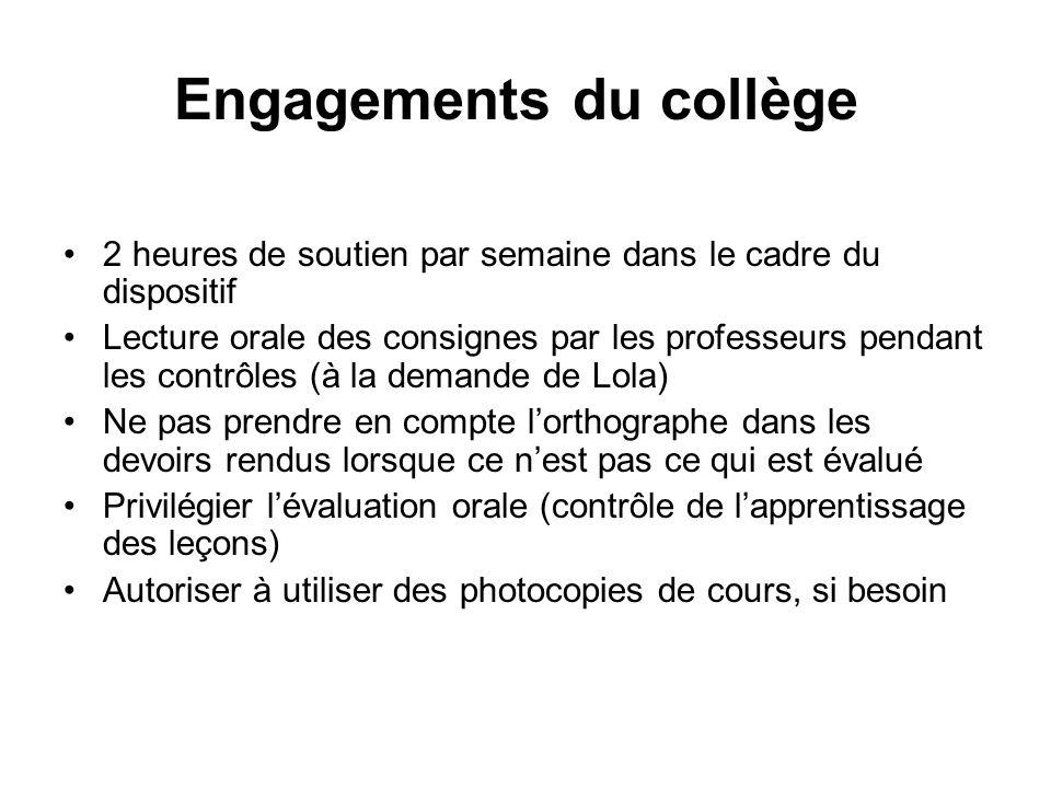 Engagements du collège