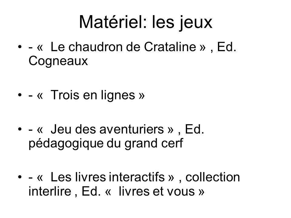 Matériel: les jeux - « Le chaudron de Crataline » , Ed. Cogneaux