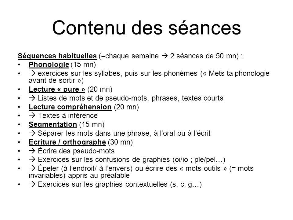 Contenu des séancesSéquences habituelles (=chaque semaine  2 séances de 50 mn) : Phonologie (15 mn)