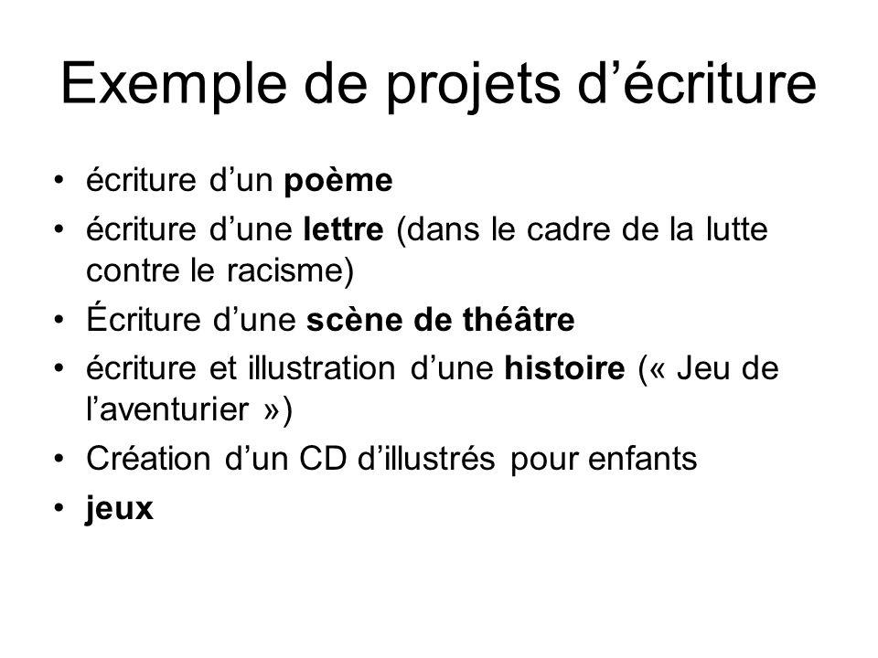 Exemple de projets d'écriture