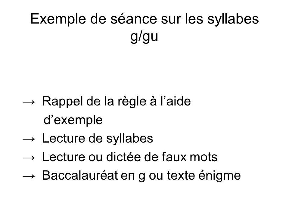 Exemple de séance sur les syllabes g/gu