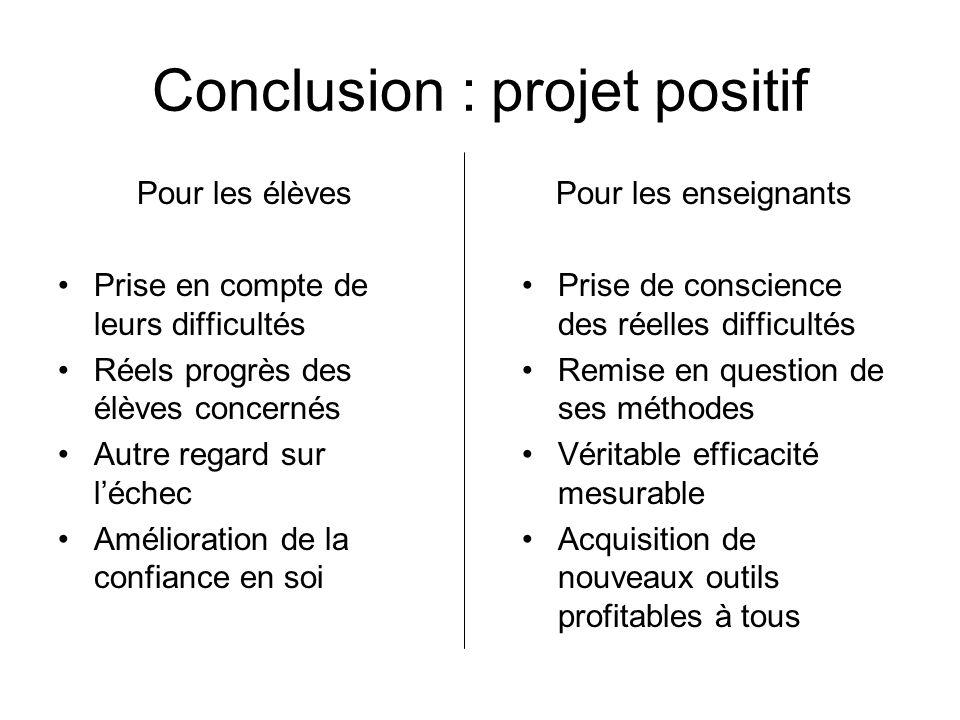 Conclusion : projet positif