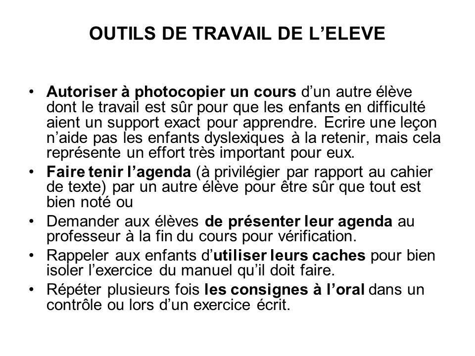 OUTILS DE TRAVAIL DE L'ELEVE