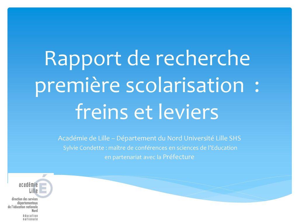 Rapport de recherche premi re scolarisation freins et - Grille indiciaire maitre de conference ...