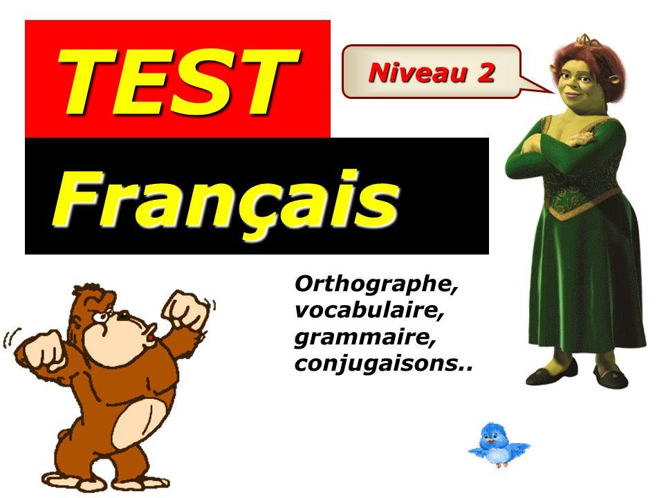 TEST Niveau 2 Français Orthographe, vocabulaire, grammaire, conjugaisons..