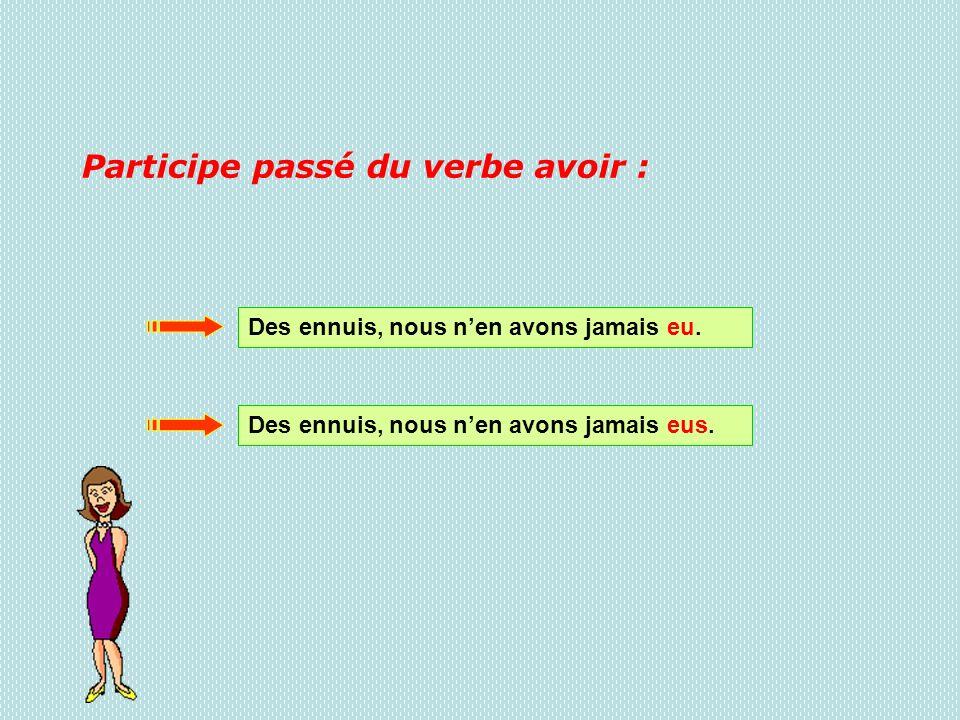 Participe passé du verbe avoir :