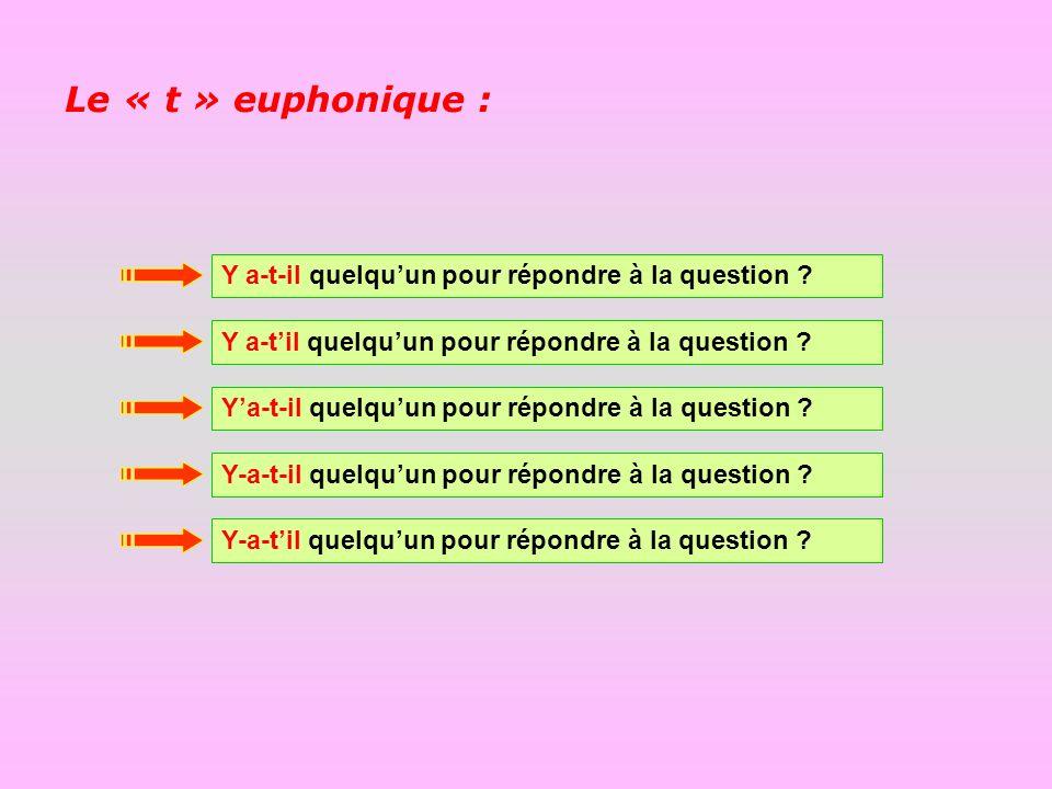 Le « t » euphonique : Y a-t-il quelqu'un pour répondre à la question