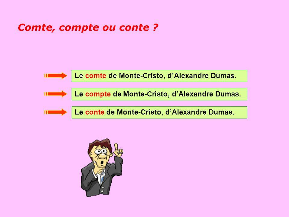 Comte, compte ou conte Le comte de Monte-Cristo, d'Alexandre Dumas.