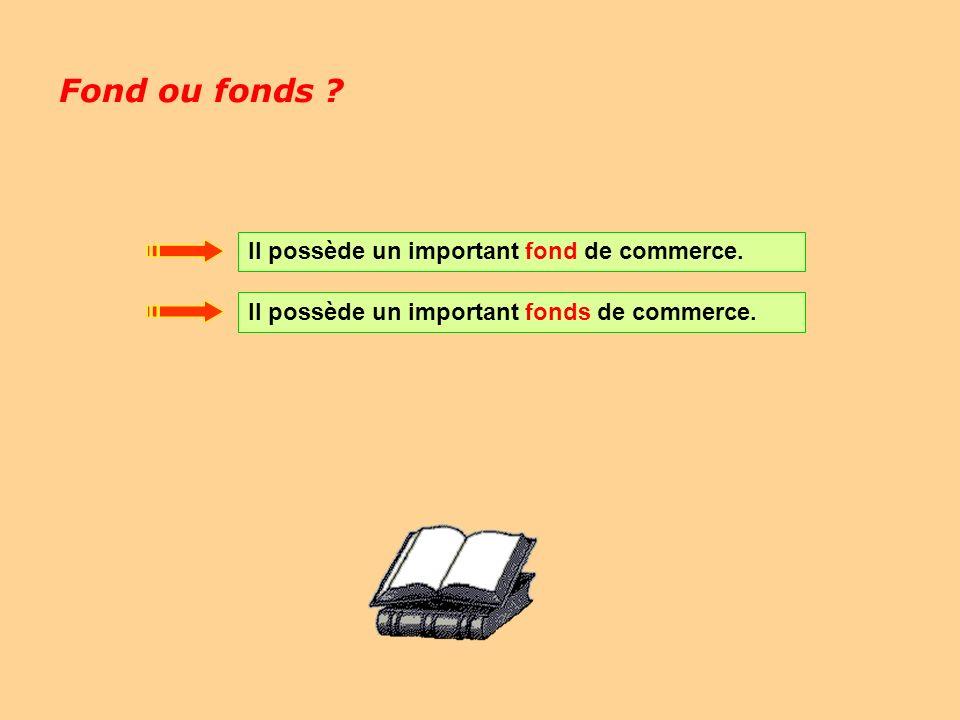 Fond ou fonds Il possède un important fond de commerce.