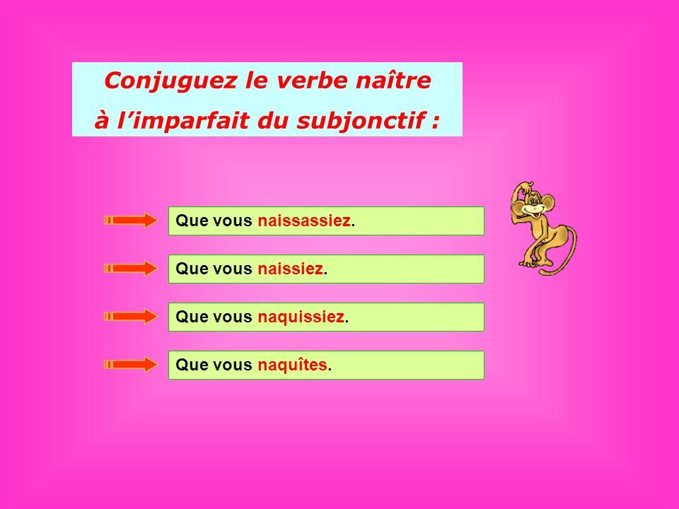 Conjuguez le verbe naître à l'imparfait du subjonctif :