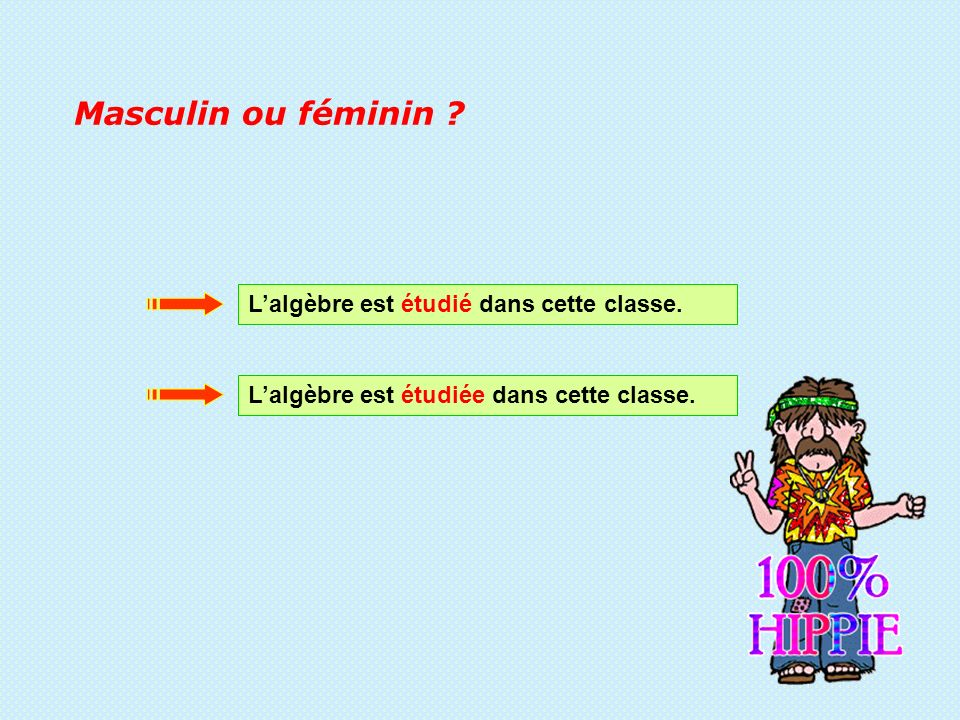 Masculin ou féminin L'algèbre est étudié dans cette classe.