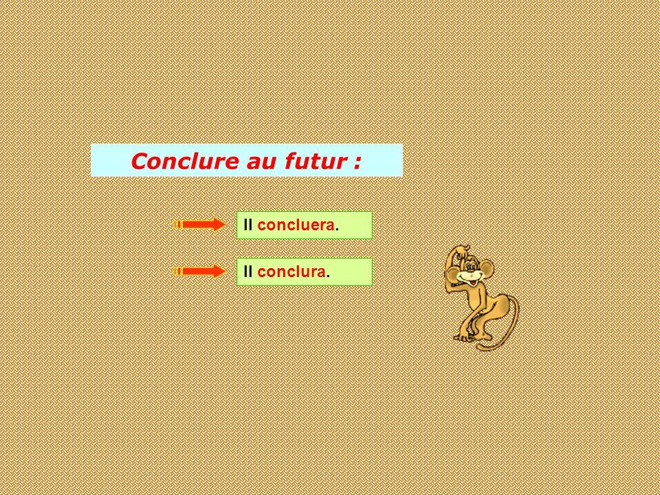 Conclure au futur : Il concluera. Il conclura.