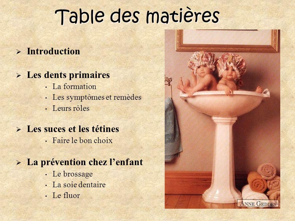 Table des matières Introduction Les dents primaires