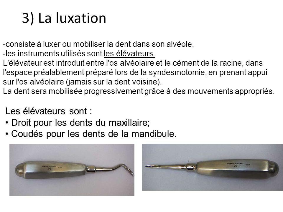 3) La luxation consiste à luxer ou mobiliser la dent dans son alvéole,