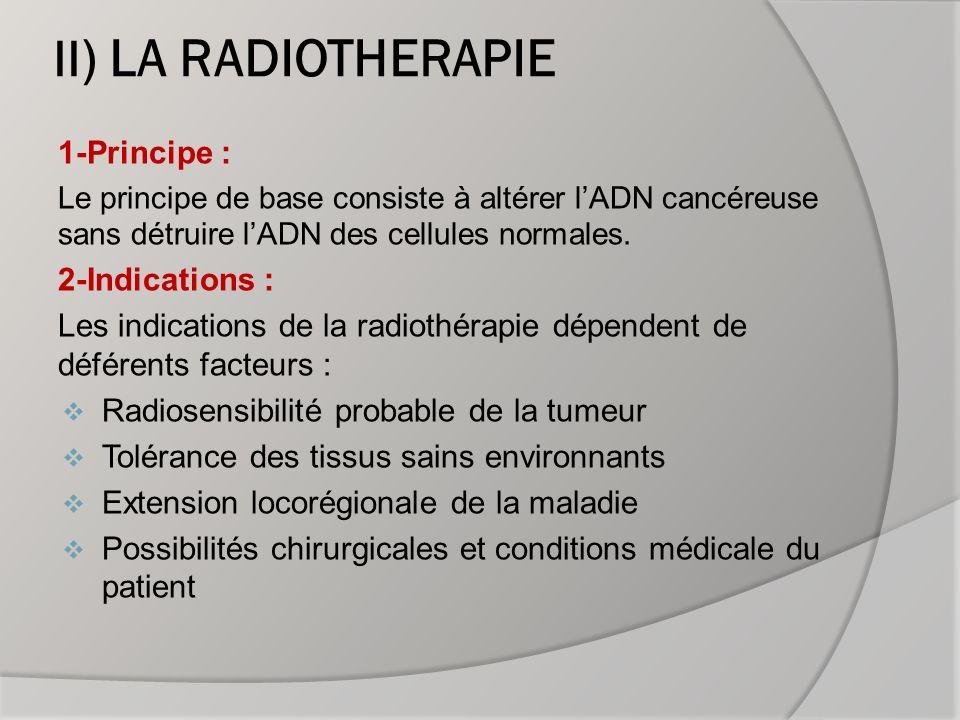 II) LA RADIOTHERAPIE 1-Principe : 2-Indications :