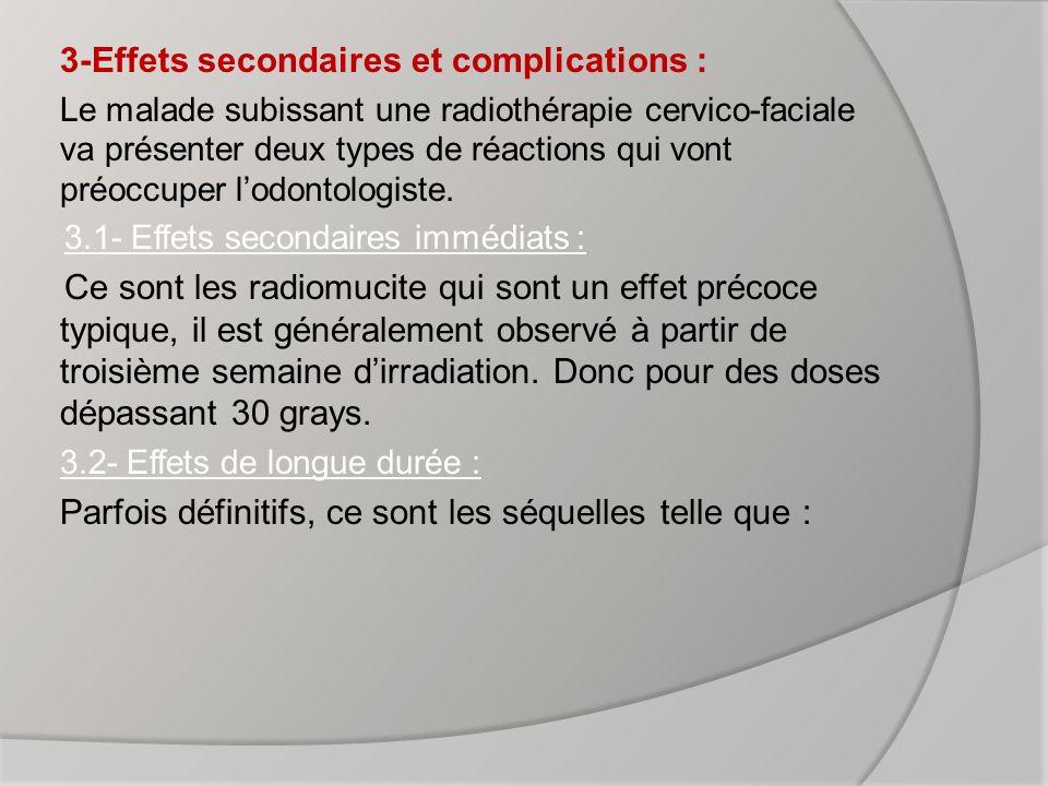 3-Effets secondaires et complications :
