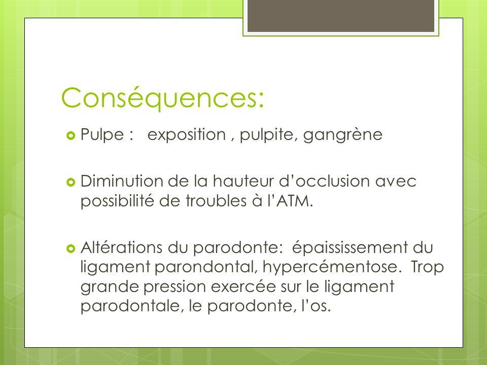 Conséquences: Pulpe : exposition , pulpite, gangrène