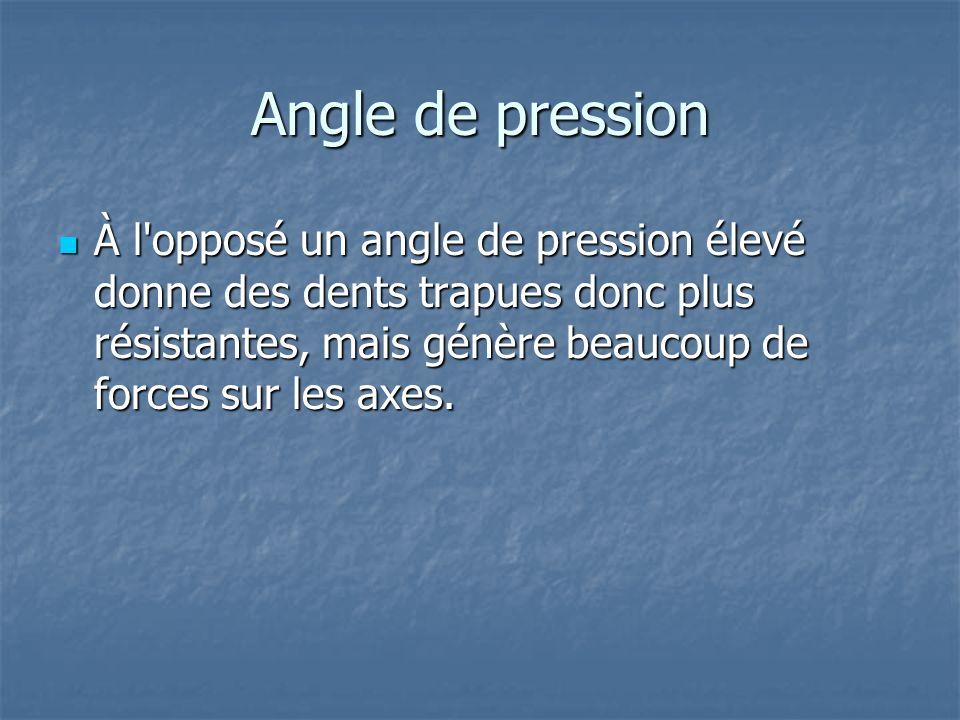 Angle de pression À l opposé un angle de pression élevé donne des dents trapues donc plus résistantes, mais génère beaucoup de forces sur les axes.