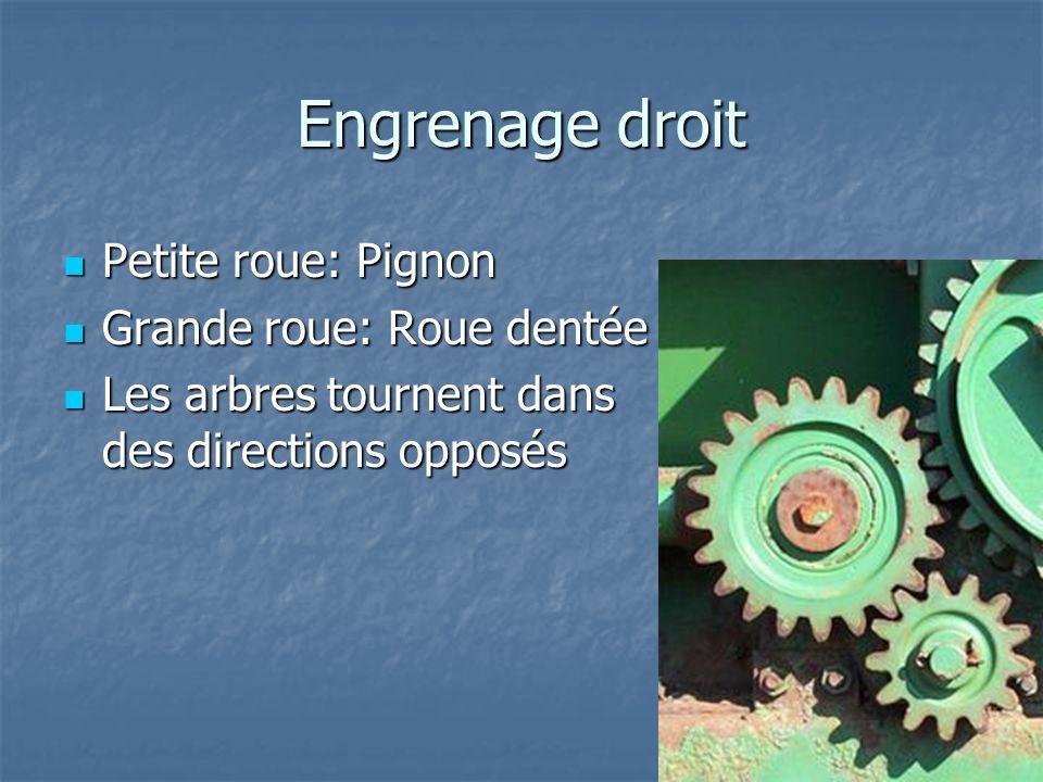 Engrenage droit Petite roue: Pignon Grande roue: Roue dentée