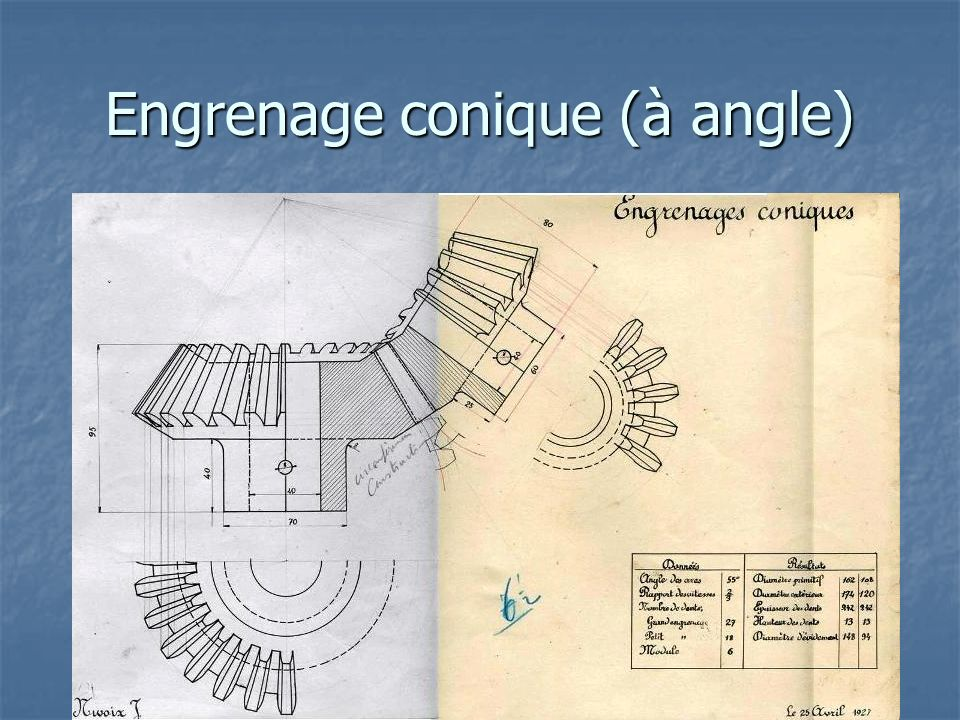 Engrenage conique (à angle)