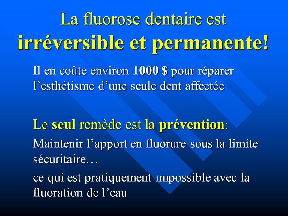 La fluorose dentaire est irréversible et permanente!