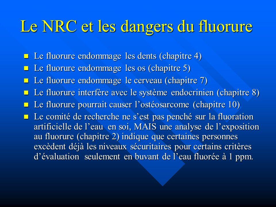 Le NRC et les dangers du fluorure