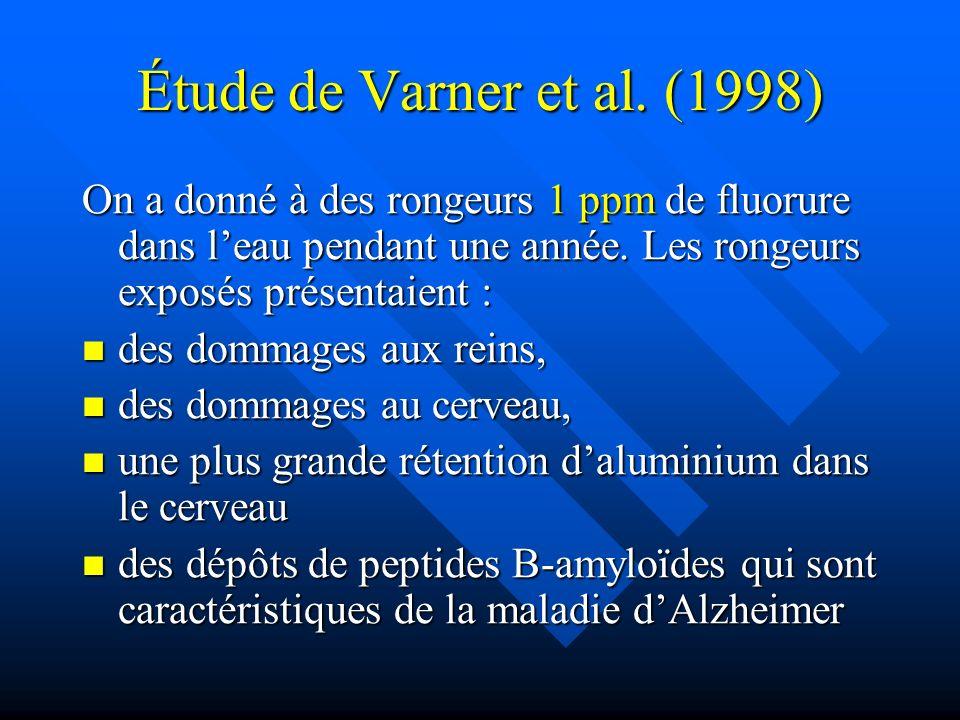 Étude de Varner et al. (1998) On a donné à des rongeurs 1 ppm de fluorure dans l'eau pendant une année. Les rongeurs exposés présentaient :