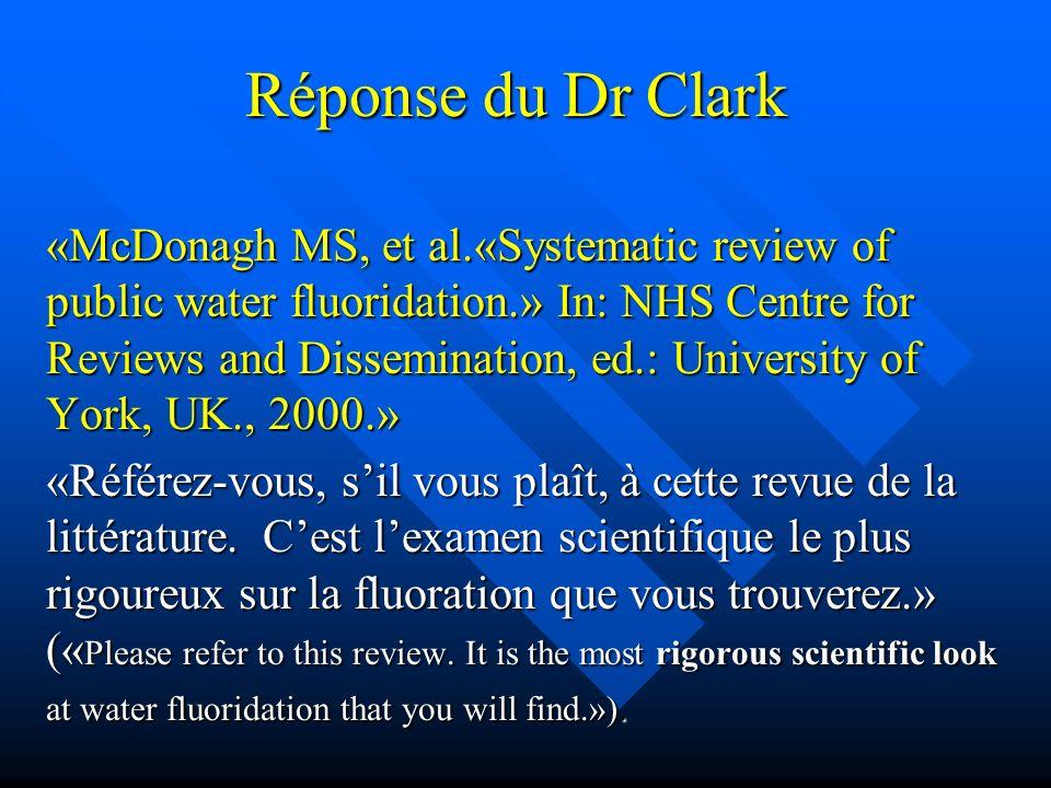 Réponse du Dr Clark
