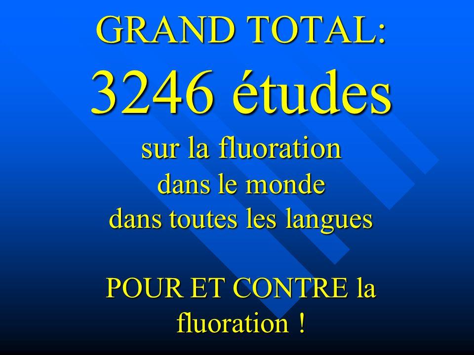 GRAND TOTAL: 3246 études sur la fluoration dans le monde dans toutes les langues POUR ET CONTRE la fluoration !
