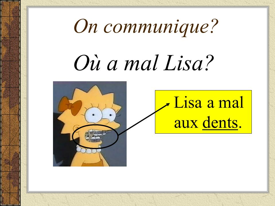 On communique Où a mal Lisa Lisa a mal aux dents.