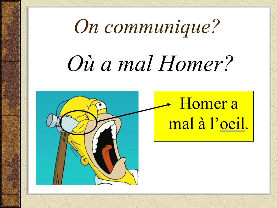On communique Où a mal Homer Homer a mal à l'oeil.